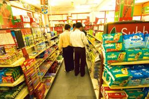 Marked up: Packaged goods on display at a Subhiksha store in New Delhi. There is no system in place to ensure that a manufacturer does not exaggerate the MRP, an expert committee has said in its repor