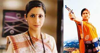 Smoking gun: Tulsi was played by Smriti Irani (right) and later replaced briefly by actor Gautami Kapoor (left).