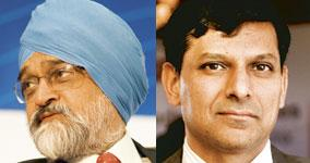 Two's company: Montek Singh Ahluwalia (left) has been entrusted by the PM with critical work relating to India's negotiating stance at Bretton Woods II. Raghuram Rajan (right), recently appointed hono