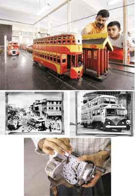 Time travel: (clockwise from above) Visitors Atul Keni and his son, Varad, looking at the replica of a double-decker tram from the 1920s; BEST buses were modelled on London's double-deckers; a ticket-