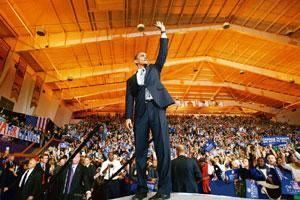 Global popularity: Barack Obama at a campaign rally inVirginia on 28 October. The highest global search-hits for the word Obama came from Kenya, followed by the US, in the week preceding the election