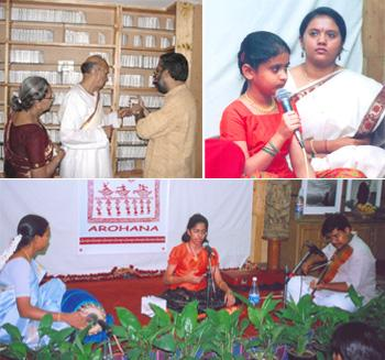 (clockwise from top left) R.V. Raghavendra( extreme right) at the Ananya Sangraha; Meghana, who participated in Hadu Hakki radio programme, during a stage show; A Carnatic vocalist at a performance or