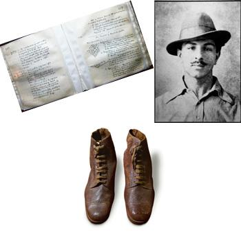 Remains of a day: (clockwise from top right) The famous photograph; the shoes Bhagat Singh gifted fellow revolutionary Jaidev; the jail diary. Photographer Harikrishna Katragadda / Mint shot these ima