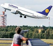 Changing way:?A Lufthansa aircraft taking off from Berlin. Adam Berry / Bloomberg