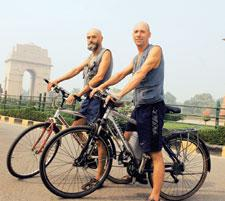 Pedal Pushers: At the end of 12,000km and six countries, Vladimir Gryshuk (left) and Anatoly Shmakov. Ramesh Pathania / Mint