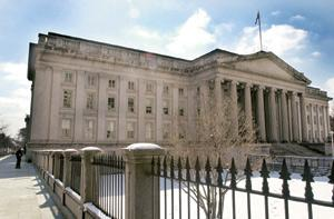 Seeking safety: US treasury building in Washington, DC. The US' three-month treasury bill rate has fallen to near zero, as investors flee equity markets for the shelter of ultra short-dated government