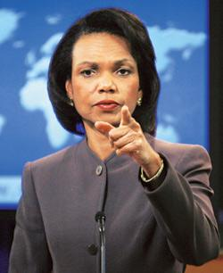 Peacekeeping: US secretary of state Condoleezza Rice. Kevin Lamarque / Reuters