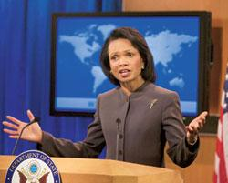 Shared outrage: A 26 November photo of US secretary of state Condoleezza Rice in Washington, DC. Rice arrives in New Delhi on Wednesday and is expected to go to Pakistan on Thursday. J. Scott Applewhi