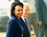 Damage control: US secretary of state Condoleezza Rice with US ambassador to India David Mulford in New Delhi on Wednesday. PTI