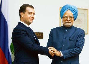 Joint efforts: Russian President Dmitry Medvedev (left) and Indian Prime Minister Manmohan Singh in New Delhi on Friday. AP