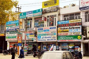 Welcome step: Travel agents' offices in Jalandhar. Travel agents contribute at least 80% of business for airlines. Ramesh Pathania / Mint