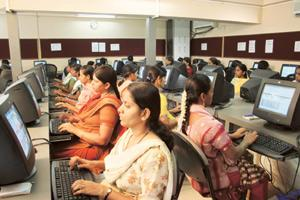 New practices: A JSW group's CSR rural BPO initiative for women of Vijayanagar in Karnataka. According to the company's website, 300 women work on data entry and data processing at the centre.
