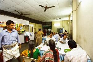 A different fare: The Vani Mahal canteen, run by Gnanambiga catering service. Running canteens during the music festival is useful publicity for caterers, helping them secure orders for the wedding se