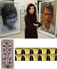 Mosaic: (clockwise from above) Crease/Crevice/Contour (2008); Closet Quarries (2008); and Reena Saini Kallat in her Bandra studio. Abhijit Bhatlekar / Mint