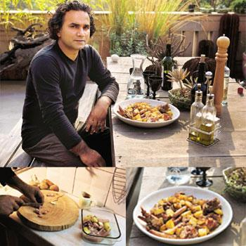 Easy does it: (top to bottom) Davis says that grappa or red wine go well with this baked dish; a hands-on chef; and Pollo and Patata Bake with Pork Sausages. Photographs by Madhu Kapparath / Mint