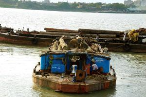 Untapped potential: Ferrying logs on the Hooghly river. Currently, inland waterways account for only 0.15% of the goods moved in the country. Indranil Bhoumik / Mint