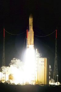 Launching pad: A 20 Dec photo of the Ariane rocket, carrying the W2M satellite, taking off. Martin / AFP