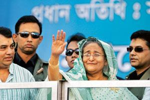 Great expectations: A 26 December photo of former prime minister Sheikh Hasina waving to supporters at a rally in Dhaka. Saurabh Das / AP