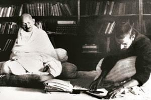 Printing rights: A February 1940 picture of M.K. Gandhi (left). / AFP