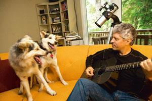Happiness twofold: Lou Hawthorne with his cloned dogs MissyToo and Mira in Mill Valley, California. Heidi Schumann / NYT