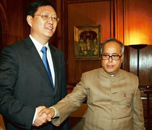 Diplomatic offensive: External affairs minister Pranab Mukherjee with Chinese vice-foreign minister He Yafei in New Delhi on Monday. India has asked China to use its influence with Pakistan to ensure