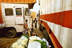 Stranded: A vegetable vendor waits between parked trucks in Gurgaon. AIMTC's strike could threaten agricultural supplies. Gurinder Osan / AP