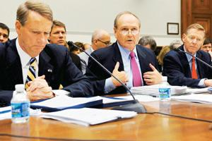 Bad decisions? A 5 December photo of GM chairman and CEO Richard Wagoner, Chrysler CEO Robert Nardelli and Ford Motor president and CEO Alan Mulally testifying about a proposed government bailout plan