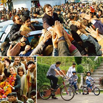 Peoples' choice: (clockwise from top) Abdullah greets supporters in Srinagar after his return from New Delhi on 30 December. PTI Photo; he says he wants to keep his sons, Zamir, 11, and Zahir, 10, awa