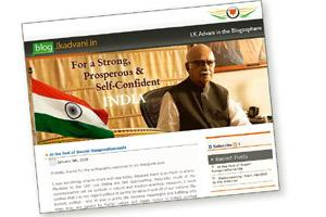 Blog entry: A screenshot of L.K. Advani's blog.