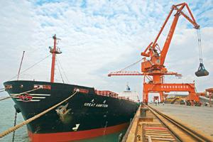 Testing times: A file photo of a dry bulk vessel owned by China's Sinotrans Shipping Ltd. / Bloomberg