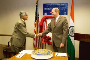 Outreach opportunities: (left) Secretary of the ministry of health Naresh Dayal with US embassy's deputy chief of mission Steven J. White at the press conference in New Delhi. Harikrishna Katragadda
