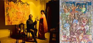 Old world: Paris-based Burman in his Delhi studio; Susan Singing in the Evening (2008) on display at Jehangir Art Gallery. Harikrishna Katragadda / Mint
