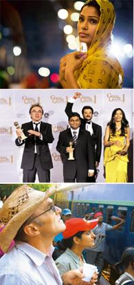 The cast: (from top) This is Mumbai-based model Freida Pinto's first film; Boyle and Rahman received their first Golden Globes (Mark J. Terrill / AP); Boyle left room for improvisation during filming.