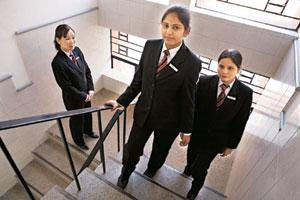 Breaking stereotypes: (L-R) Neetu Guru, Renu Puniya and Poonam Joshi of G4S India, a security services firm in Delhi. In the current watchful climate, the firm has expanded its army of female guards b