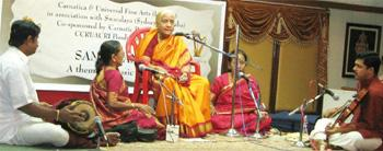 No autumn: Ponnammal performing at the Music Academy in Chennai last month. Photo: The Hindu