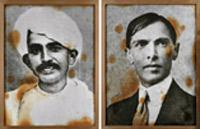 Photographs by Riyas Komu. 'Two Fathers from Gujarat' is a mixed media work in which the artist superimposed vintage photographs of Gandhi and Mohammad Ali Jinnah on linen and pasted them on canvas. H