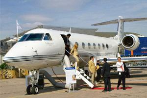 Air pocket: A file photo of a Gulfstream business jet at the 2005 Paris Air Show. Latest Airports Authority of India data shows general aviation departures fell 12.6% in October compared with the year