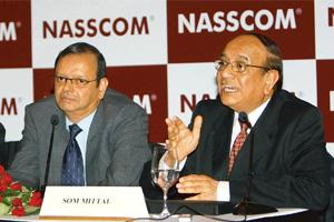 Future prospects: Nasscom president Som Mittal and chairman Ganesh Natarajan (left) at a press conference in New Delhi on Wednesday to announce the body's outlook on the performance of the industry. S