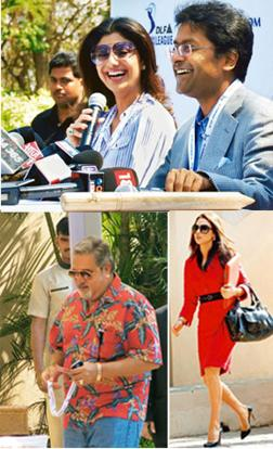 Star power: (Clockwise from top) Rajasthan Royals' new stakeholder Shilpa Shetty and IPL chairman Lalit Modi ( at the season 2 auction proceedings; Preity Zinta arrives for the bidding; as does UB Gr