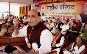 BJP chief Rajnath Singh addresses party leaders at national executive meet in Nagpur on Saturday. PTI photo
