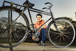 Wheels of fortune: Ecomove Solutions' V. Ramesh in Thane, Mumbai. Ramesh, who had his share of naysayers even in a bull market, is finding fund-raising for his bicycle rental service company a difficu