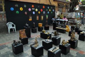 Artworks on display at the Kala Ghoda pavements