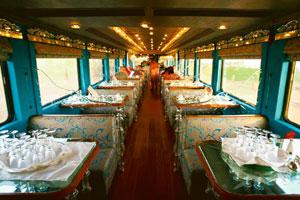 Few takers: Sheesh Mahal, a restaurant coach aboard the Royal Rajasthan on Wheels. Vijay Mathur / Reuters