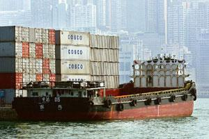 Setting a floor: A ship moored in Victoria Harbour in Hong Kong. The shipping gauge is a sign China's $580 billion stimulus spending on housing, roads, power grids and airports will have an impact be