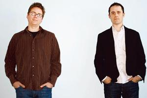 Absurd valuation: Twitter founders Biz Stone (left) and Evan Williams at their San Francisco office. The company currently has zero revenues. Jeff Chiu / AP