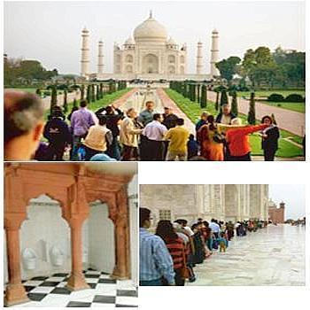 Homage: (clockwise from above) Visitors line up at the mausoleum; the clean urinals. Sidin Vadukut / Mint. The Taj Mahal somehow stands resolute. Harikrishna Katragadda / Mint
