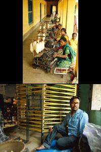 Wheel of life: (top) Weavers in Islampur; and Mondal at Chandrakant Lalitmohan Resham Khadi Samity, from where he sources fabric. Indranil Bhoumik / Mint
