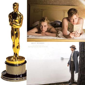 Who'll it be? (clockwise from top left) The Oscar statuette; Winslet and Kross in The Reader; and Pitt in Curious Case of Benjamin Button