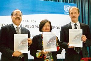 Shaky: (from left) N.N. Prasad of department of industrial policy and promotion, ministry of commerce; Shalini Dewan of the United Nations; and Philippe Scholtes of Unido at the release of its Industr