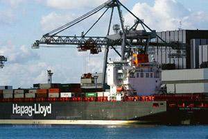 Desperate measures: A file photo of a Hapag-Lloyd AG ship. The company will hike rates by between $1,000 and $2,000 from 1 April. Andrew Wheeler / Bloomberg